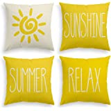 AVOIN Summer Sunshine Throw Pillow Cover, 18 x 18 Inch Sun Relax Cushion Case for Sofa Couch Set of 4