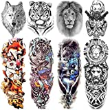 VANTATY 8 Sheets Extra Large 3D Realistic Animals Full Arm Temporary Tattoos For Men Women Arm Sleeve Tattoo Maori Wolf Stickers Sexy Fox Tiger Flower Big Leg Tatoos Adults Gangster Girl Kid Lion