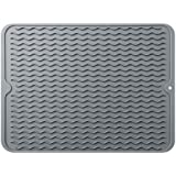 Silicone Dish Drying Mat,Easy Clean Dishwasher Safe Heat Resistant Eco-Friendly Trivet - Gray