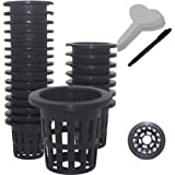 50 Pack 2 Inch Net Pots Garden Slotted Mesh Net Cups,with 50 Pcs Plant Labels,Wide Lip Heavy Duty Bucket Basket for Hydroponi