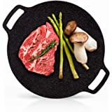 UPIT Korean Nonstick Round Griddle, 5-Ply Marble Coating Roti Tawa Induction Compatible Multipurpose Stovetop BBQ Grill Pan f