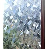 rabbitgoo Static Window Film Privacy 90*200CM, 3D Decorative Stained Glass Film, Static Cling Door Window Covering, Removable