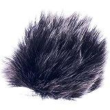 【ノーブランド品】 ファー マイク 風防 雑音低減 ラペル ラベリアマイク 全2色2サイズ - ブラック, 1.5cm