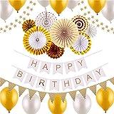 誕生日 飾り付け セット CCINEE 風船 バースデー ガーランド デコレーション HAPPY BIRTHDAY きらきら風船 ゴールド
