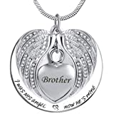 PREKIAR Angel Wing Urn Necklace for Ashes, Heart Cremation Memorial Keepsake Pendant Necklace Jewelry with Fill Kit and Gift