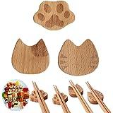 箸置き 和風 かわいい 箸置き はし置きセット食卓 テーブル カトラリー インテリア 木で作る (3PCS 猫の爪 ひげ 顔)