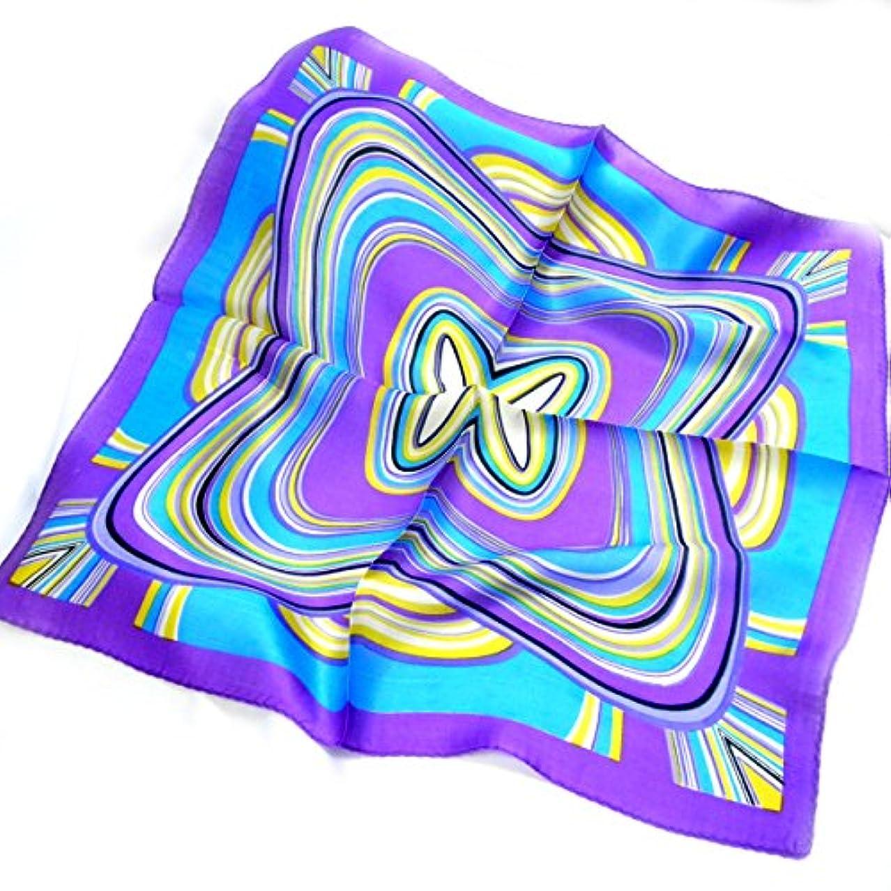 みすぼらしいトリッキーアーサーコナンドイルシルクスカーフ ネッカチーフサイズ 約50cm正方形 プッチ柄やマーブル柄好きに サイケデリックな派手柄 くっきりパープル色