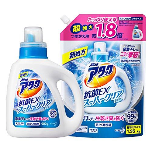 【まとめ買い】アタック抗菌EXスーパークリアジェル 洗濯洗剤 液体 本体+詰め替え1.35?