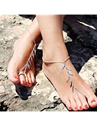 Edary Ankle Barefoot Sandal with Leaves for Women and Girls(Silver)