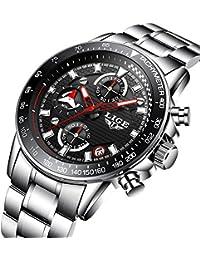 腕時計 メンズ腕時計 カジュアル コマース ステンレススチールウォッチ クロノグラフ 日付表示 多機能 スポーツ防水クォーツ時計 シルバーブラック