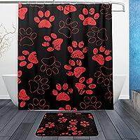 sunlome猫犬ブラックレッドPaws Footprints印刷浴室セット防水ファブリックポリエステルバスシャワーカーテン&ドアマット& 12増粘c-shapeリング
