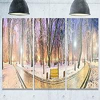 Designart MT9180-3P マリンスキーガーデンパス パノラマ風景 フォトメタルウォールアート (3パネル) ブルー 36x28インチ