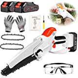 Mini Chainsaw 6-Inch Mini Chainsaw with 2 Battery Cordless Electric Chain Saw 2.7Lbs Lightweight Handheld Chainsaw Small Batt