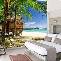 Lwcxフォトウォールペーパー3d壁紙壁3DのHD Palm Beachシースケープスタイルリビングルームソファ夏Large壁画壁紙 FEAF524682