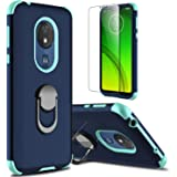Moto G7 Power Case, Moto G7 Supra Case with Soft TPU Screen Protector, lovpec Ring Magnetic Holder Kickstand Shockproof Prote