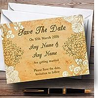 Shabby Chic素朴なヴィンテージレースPersonalized結婚を保存日付カード 20 Invitations