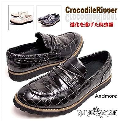 ノーブランド品 CrocoRipper Bit Shoes ローファー ビター系 24.5-25.0 ブラック