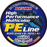 BEUNA 4編 PEライン 300m 500m 1000m マルチカラー PE 釣り糸 0.4号 0.6号 0.8号 1号 1.2号 1.5号 2号 (1000m, 1.2号 22lb)
