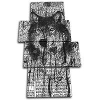 太字ブロックデザイン–Wolf AbstractペイントMono動物マルチキャンバスアートプリントボックスフレーム壁吊り下げ–Hand Made In The UK–Framed and ready to hang (C) 160x90cm 13-8271(00B)-MP04-PO-C