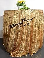 ShinyBeautyゴールドスパンコールのテーブルクロス/オーバーレイウェディング/パーティー/インテリア/ Backdrops 108'' round ゴールド ShiDianYi Gold Sequin Tablecloth