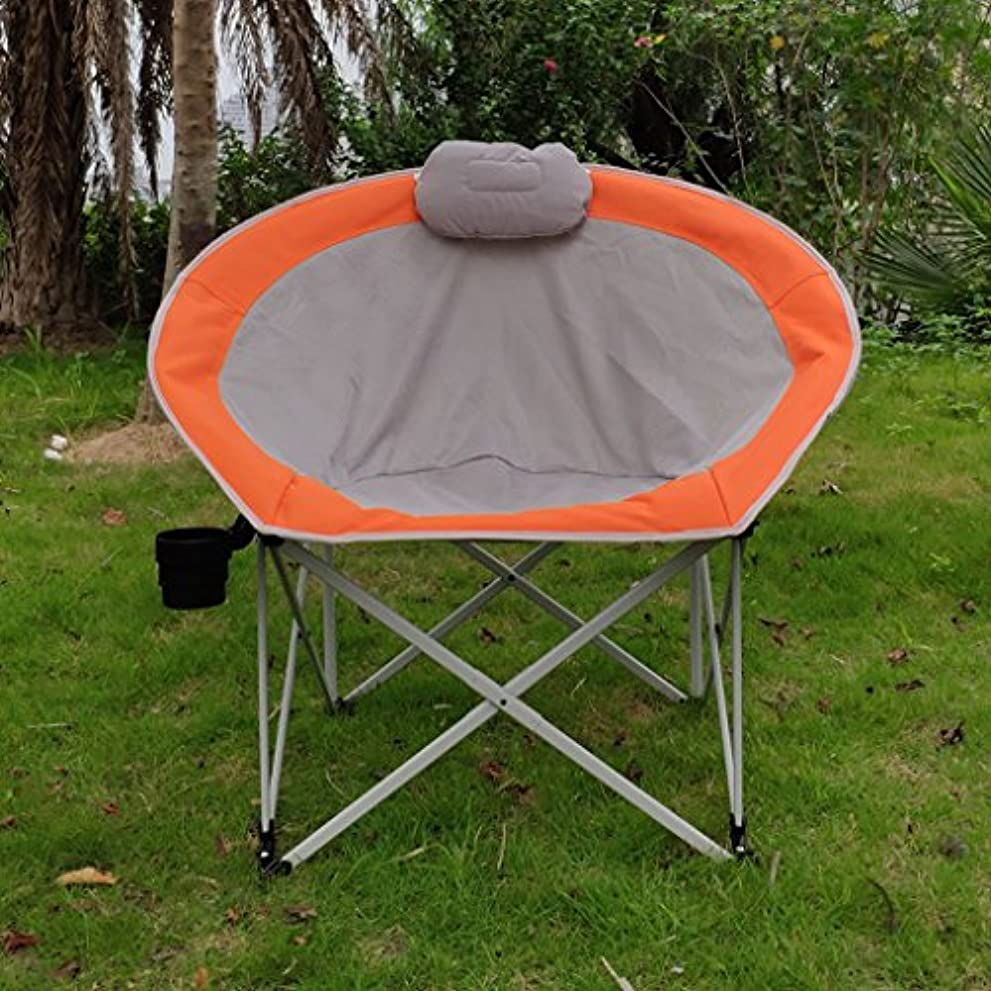 オフェンスメンテナンス命題GWM 怠惰な椅子ホームガーデンレジャー折りたたみチェアランチブレークムーンチェア屋外ポータブル釣りチェア (色 : Orange double mesh)