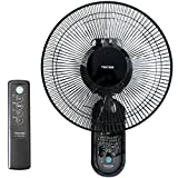 30cm 壁掛け扇風機 5枚羽根 リモコン対応 風量3段階 【ブラック】 (簡単設置 首振り 上下イージーネック機能 タイマー付き)