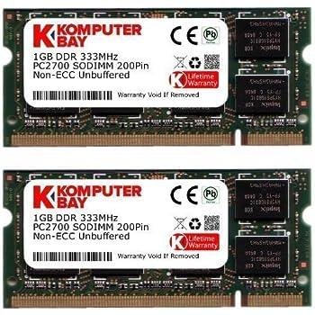 Komputerbay 2GBメモリ 2枚組 DDR 333MHz PC2700 1GBX2  DUAL 200pin  SODIMM ノート パソコン用 増設メモリ  2GB デュアル