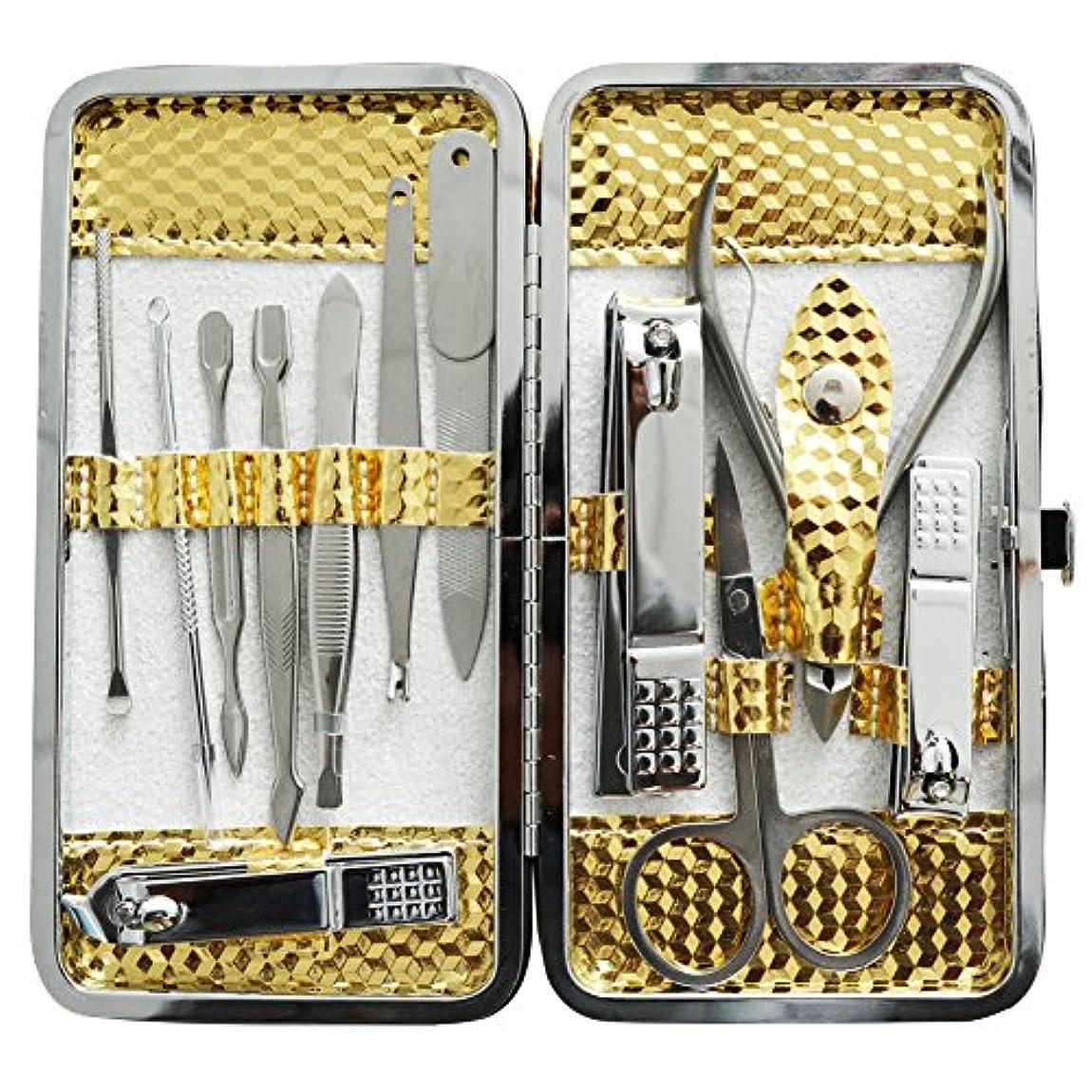 フォーマルバラ色自我爪切りセット 耳掃除機 12枚はさみ、キューティクルをトリマー、耳かき、ナイフ