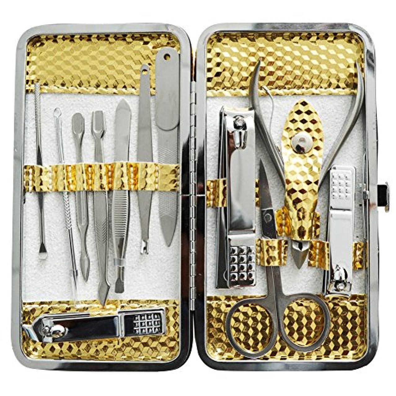 最大化する義務付けられた致命的な爪切りセット 耳掃除機 12枚はさみ、キューティクルをトリマー、耳かき、ナイフ
