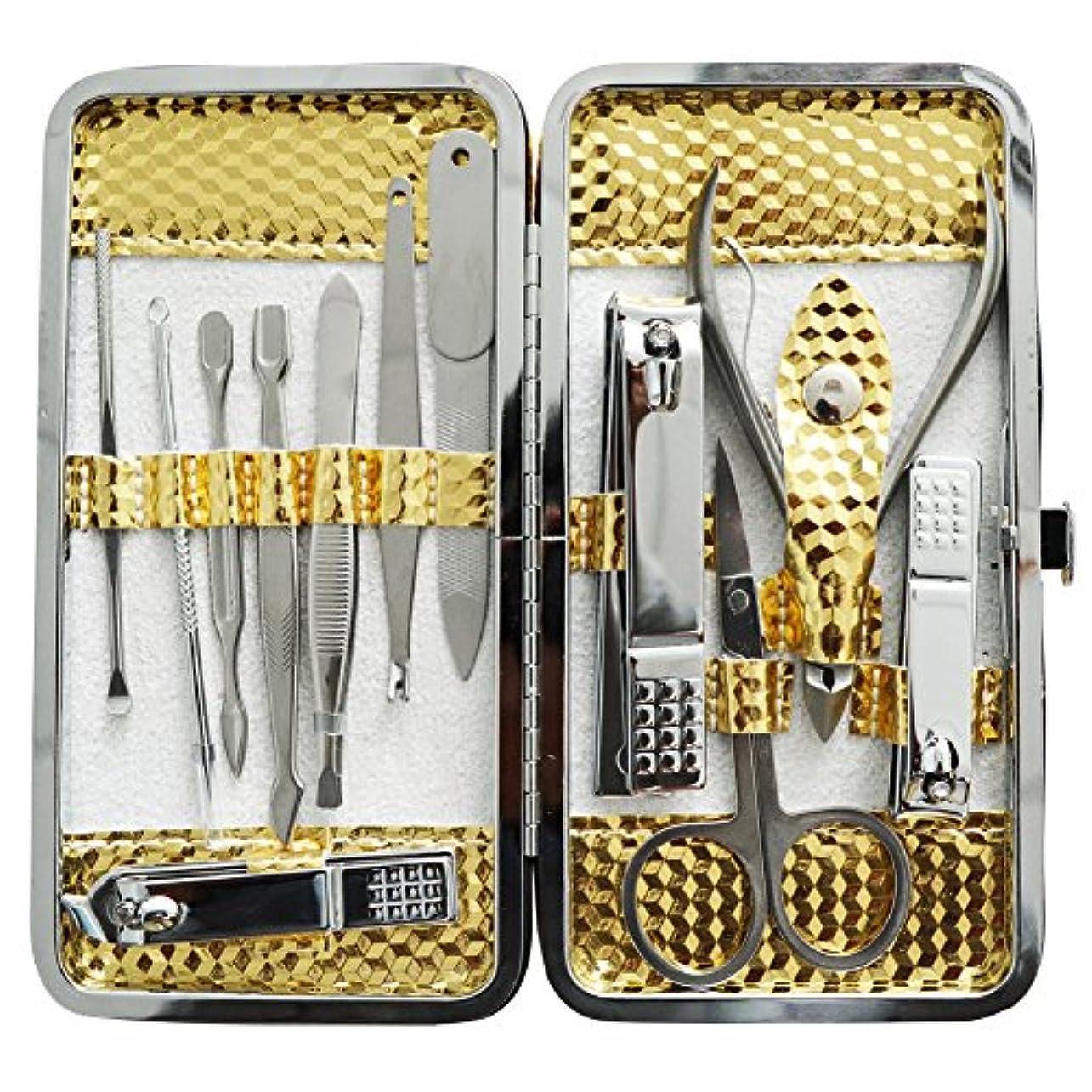 自治アナログ気味の悪い爪切りセット 耳掃除機 12枚はさみ、キューティクルをトリマー、耳かき、ナイフ