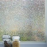 DUOFIRE 3D窓用フィルム 目隠しシート ガラスフィルム 断熱 遮光 結露防止 紫外線UVカット 水で貼る 貼り直し可能 装飾フィルム おしゃれ [石道004] (0.44M x 2M)