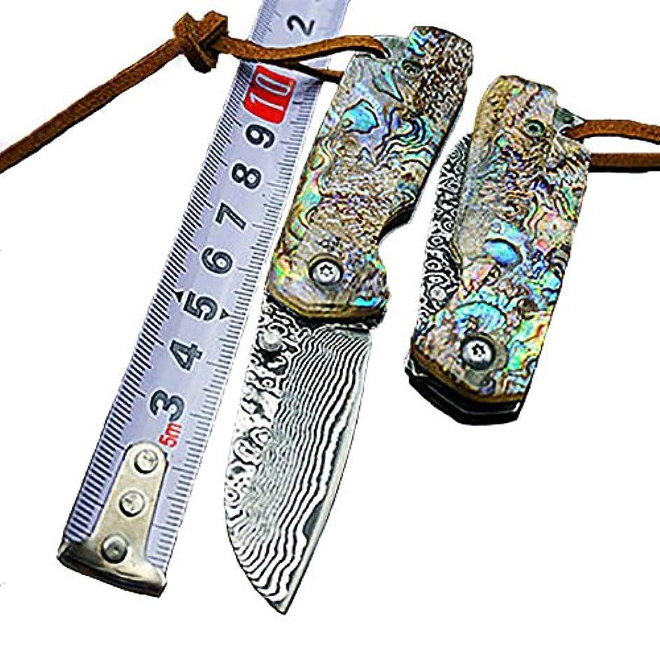杭おそらく温度計ダマスカス鋼の刃 貝殻の柄 折り畳み刀直刃 ダマスカス鋼 折り畳み刀 ナイフの収蔵品 戸外ナイフ ギフトボックス付き Damascus Pocket knife