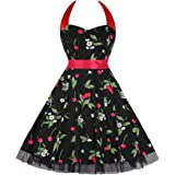 Killreal Women's 1950s Vintage Style Cocktail Party Rockabilly Halter Dress