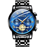 SUNVEN Men's Watches Waterproof Quartz - Business Wristwatch Gold Stainless Steel Sapphire Face Multi-Function Displays Lumin