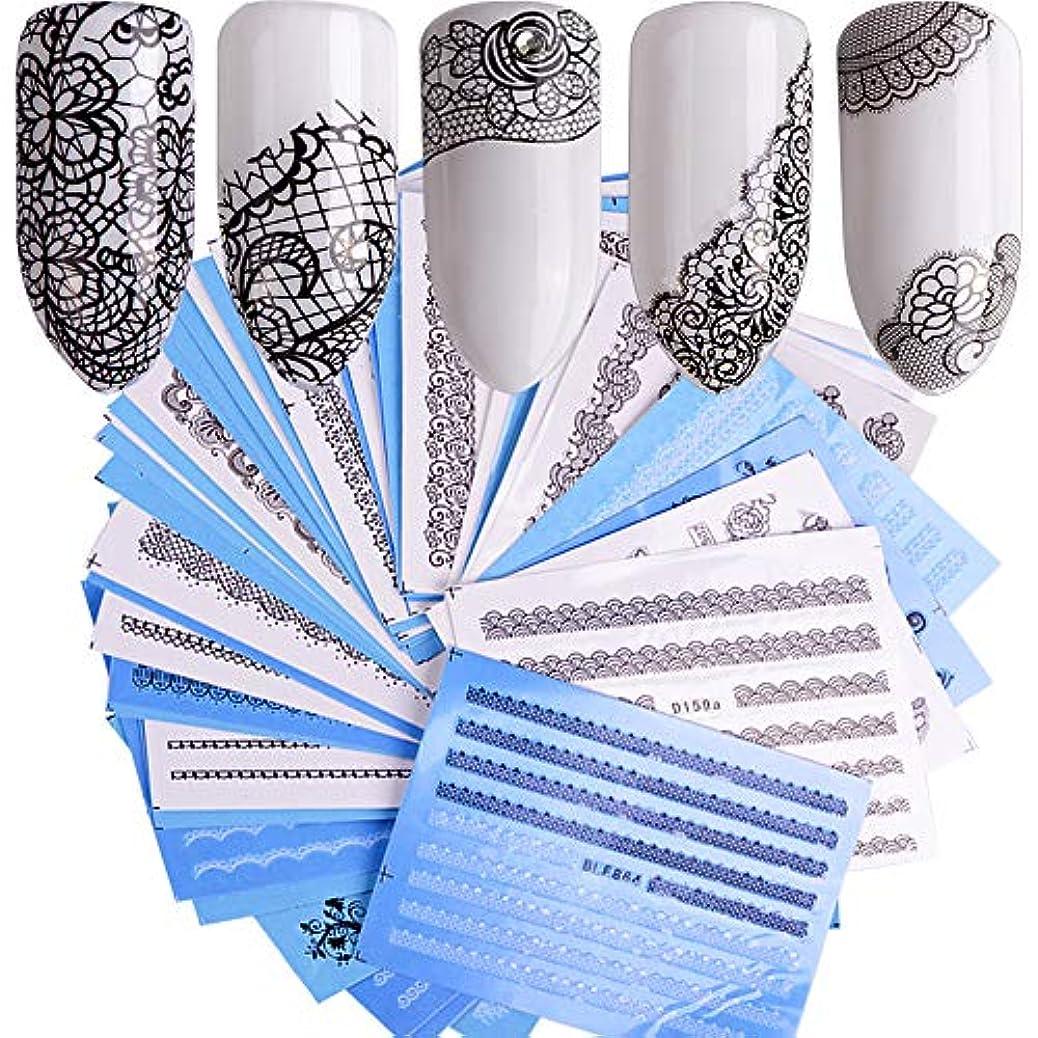 土器シンプルさ証言SUKTI&XIAO ネイルステッカー 40枚ネイルアートデカールステッカー白黒水デカールレースフラワーセットスライダーネイルのヒントマニキュア装飾ツール