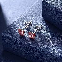 クリスタルイヤリング韓国純銀製925弓クリスタルスタッドピアス(色:赤)