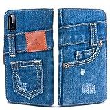 「UK Trident」本格デニム iPhone X/iPhone Xs 兼用 手帳型アイフォンケース(アイフォンX/アイフォンXsケース)