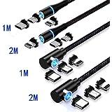 Mantis(マンティス) 3in1 マグネットケーブル 充電ケーブル L字型 LED付き1M 2M USBケーブル 360度回転 4パック【24ケ月保証】 ((4パック-1M+1M+2M+2M))