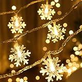 quanh 雪型 LEDイルミネーションライト フェアリーライト 電飾led 6M 40LED 電池式ストリングライト 点滅ライト 室内 室外 コン 防水 クリスマスツリー飾り クリスマス ハロウィン パーティー 正月 誕生日 結婚式 庭 広場 家装飾や、庭、ホテル、バー - ウォームホワイト(暖白色)