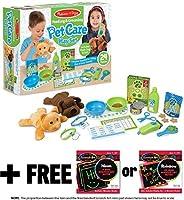 Feeding & Grooming Pet Care: Playset + 1 Melissa & Doug Scratch Art Mini-Pad Bundle (#08551) [並行輸入品]