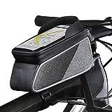 ROTTO トップチューブバッグ 自転車 バッグ フレームバッグ 防水 タッチスクリーン操作可能 レインカバー付き (グレーブラック)