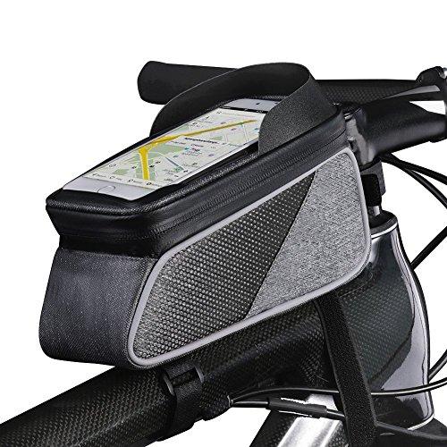 トップチューブバッグ 自転車 バッグ フレームバッグ 防水 大容量 敏感なタッチスクリーン レインカバー付き (グレーブラック)