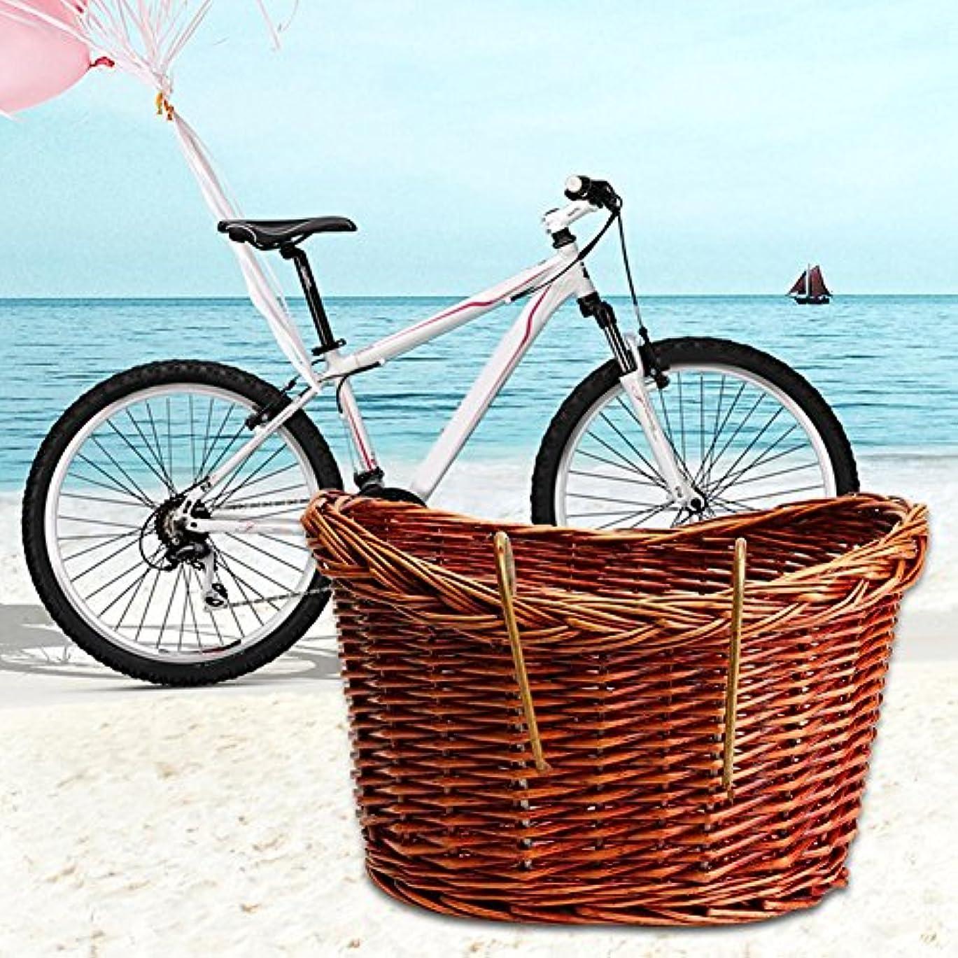 通常把握繊細ブルーネットウィッカーフロントハンドルバーバイクバスケットカーゴ、ウィッカー編み自転車フロントバスケットウィッカーハンドルバーバスケット ハンドル付き