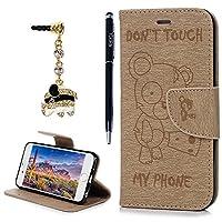 iPhone6S ケース iPhone6ケース 手帳型 YOKIRIN® くまちゃん スタンド機能付き マグネット 耐衝撃 カバー 財布型 カード収納 アイフォン6 スマートフォンケース 保護ケース 高級PUレザー ストラップ付き ゴールド