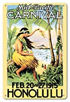 22cm x 30cmヴィンテージハワイアンティンサイン - 1915ミッドパシフィック・カーニバル - ホノルル、ハワイ - ビンテージなカーニバルのポスター c.1915