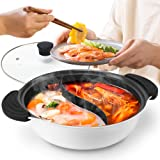 Hot Pot with Divider Non-Stick Casserole Shabu Shabu Pot for Induction Cooktop 10.7'' Suitable for 2-3 Person (White-10.7'')