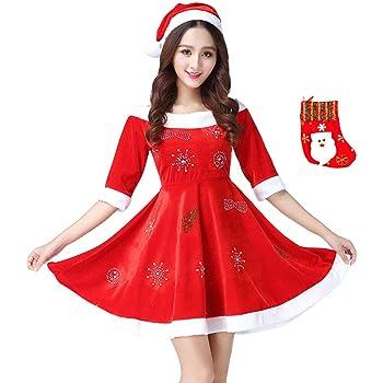 fd68314386a34 Fout サンタ 衣装 クリスマス 仮装 サンタクロース コスプレ ワンピース 大人 レディース 帽子 飾り靴下 3点セット