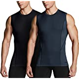 TSLA Men's (Pack of 1, 2, 3) Sleeveless Workout Shirts, Dry Fit Running Compression Cutoff Shirts, Athletic Training Tank Top