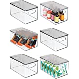 mDesign Plastic Stackable Kitchen Pantry Cabinet, Refrigerator or Freezer Food Storage Bin with Handles, Lid - Organizer for