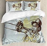 ジャズ音楽布団カバーセットby Ambesonne、Trumpet Player Illustration Rock and RollパーティークラシックArtfulデザイン、装飾寝具セットwithピロー、グレーイエローブラック キング nev_16688_king